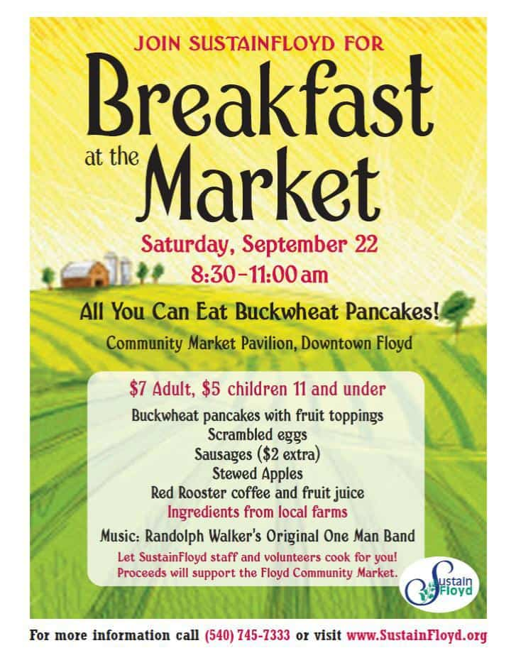 Join SustainFloyd on September 22, 2012 for Breakfast at the Market