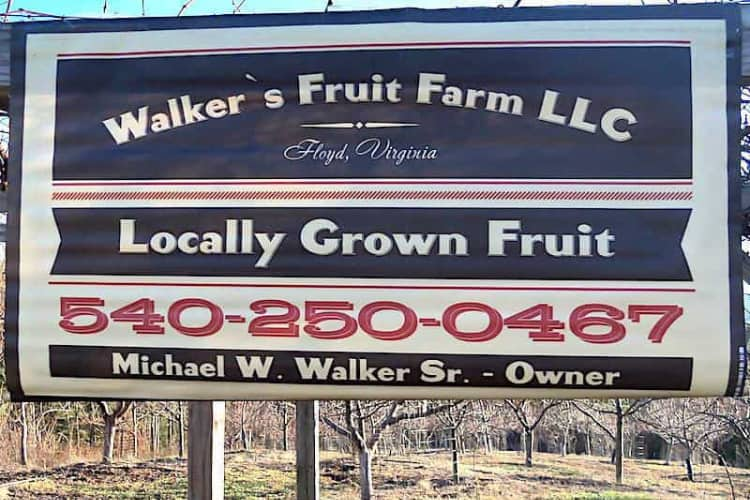 Walkers Fruit Farm Sign